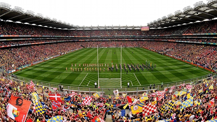 8 September 2013; A general view of Croke Park during the pre-match parade. GAA Hurling All-Ireland Senior Championship Final, Cork v Clare, Croke Park, Dublin. Picture credit: Stephen McCarthy / SPORTSFILE